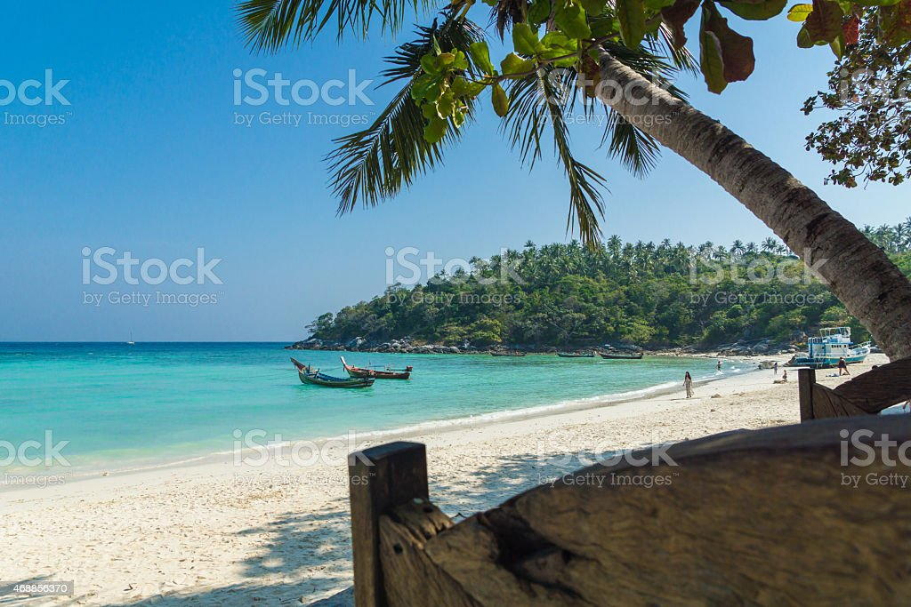 Incredible, sandy beach with crystal clear water stock photo