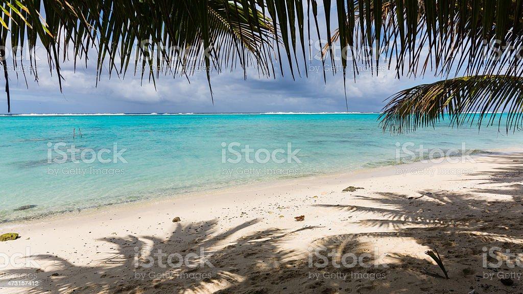 Incredibly blue ocean found in Rarotonga, Cook Islands stock photo