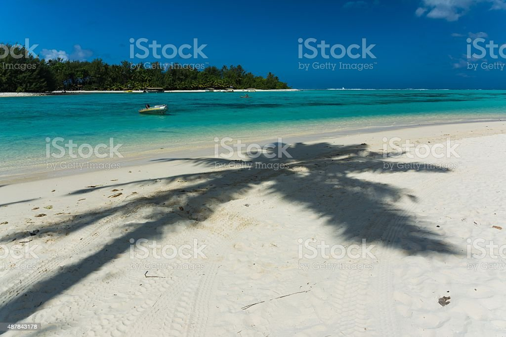 incredibly blue water at the cook islands stock photo