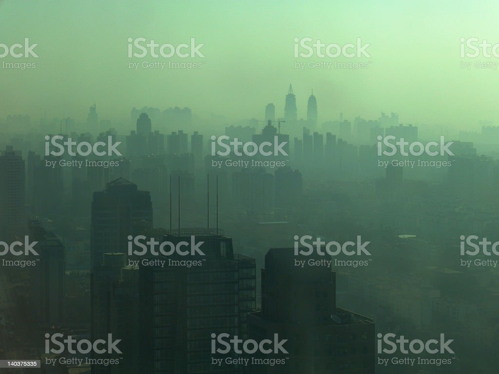 Incredibly smoggy Shanghai skyline view royalty-free stock photo