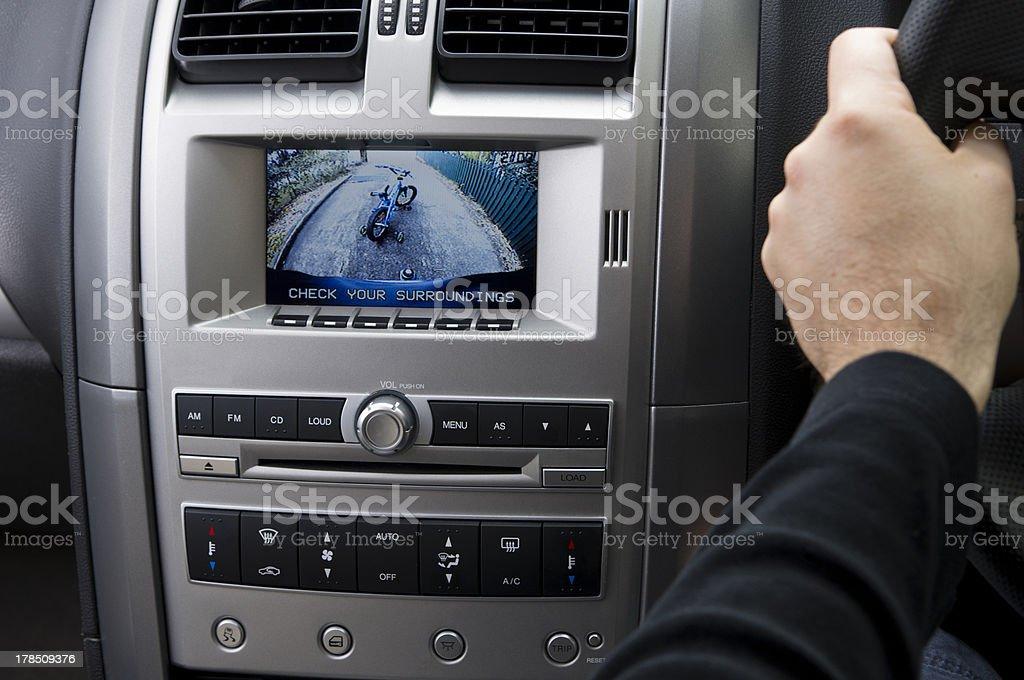 In-dash reversing camera on car (RHD) stock photo