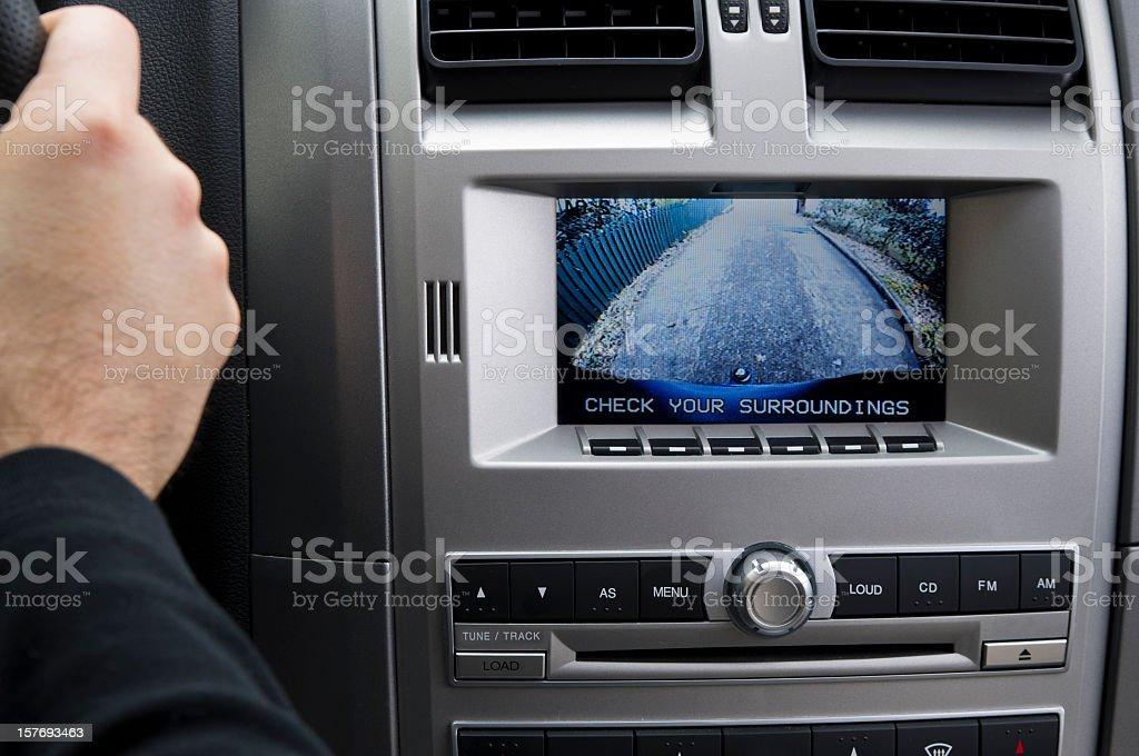 In-dash Reversing camera (LHD) stock photo