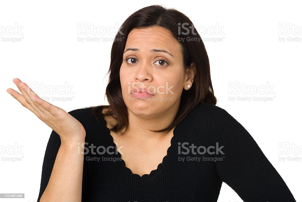 Indecisive Woman Shrugging stock photo