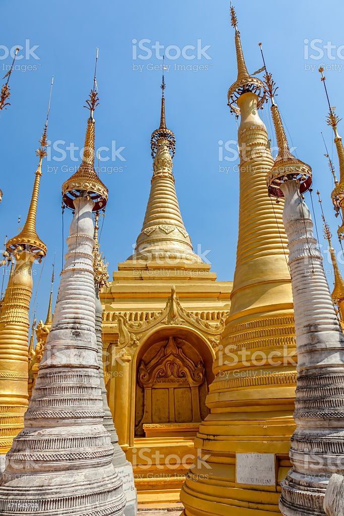 Indein stupas, Inle Lake royalty-free stock photo