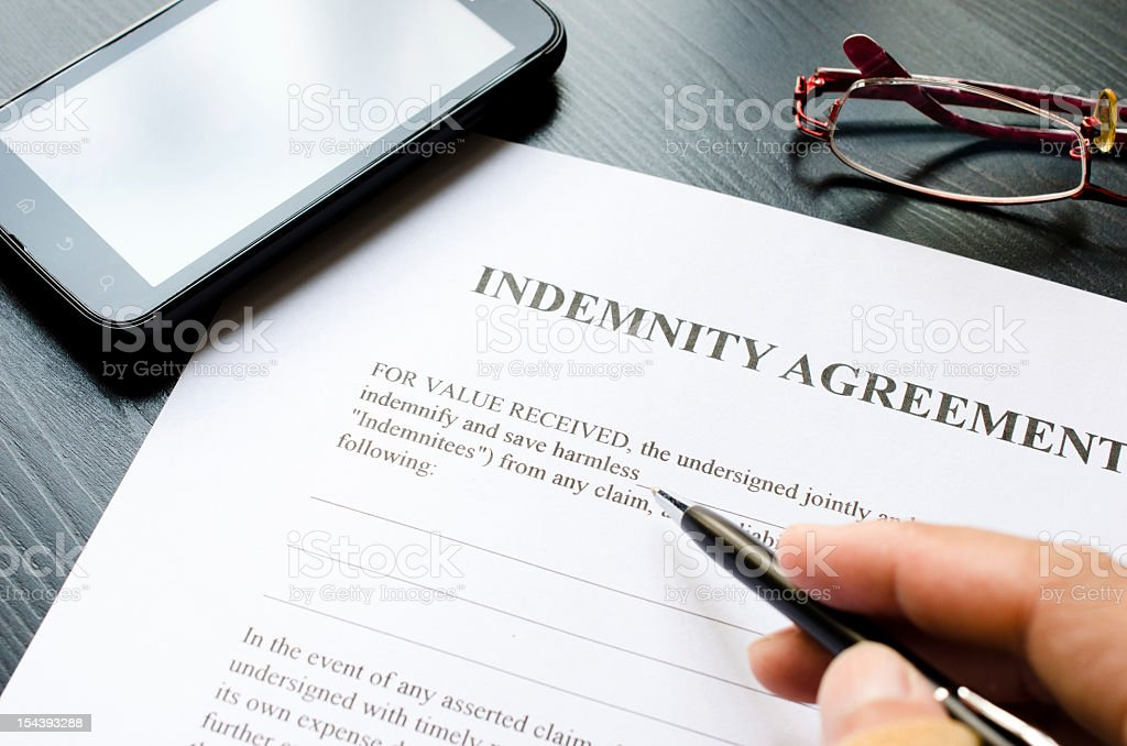 indemnity agreement royalty-free stock photo