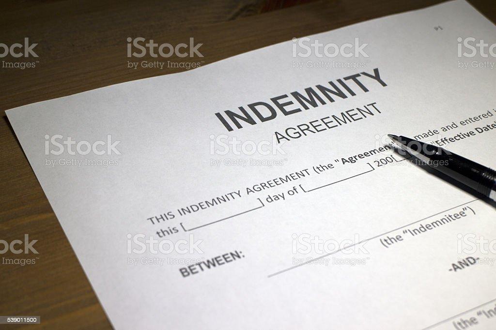Indemnity Agreement stock photo
