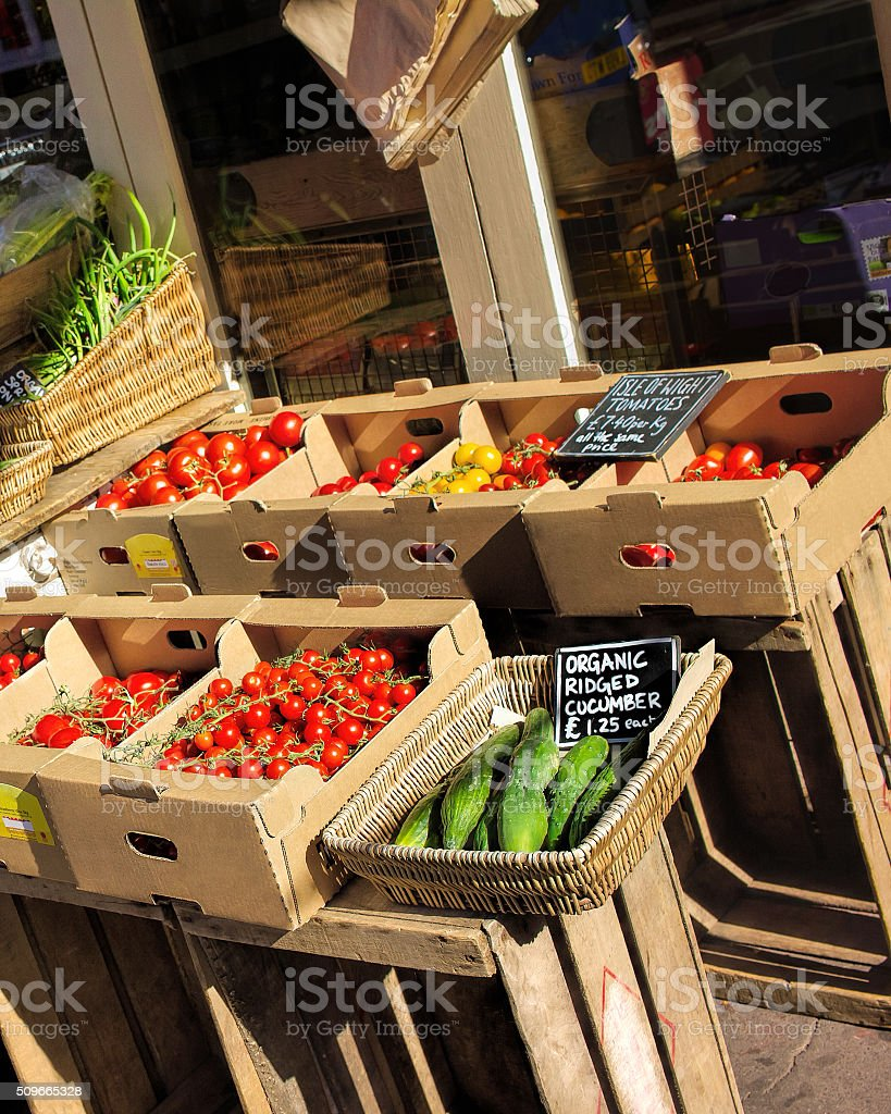 Organic fruit and vegetable store stock photo
