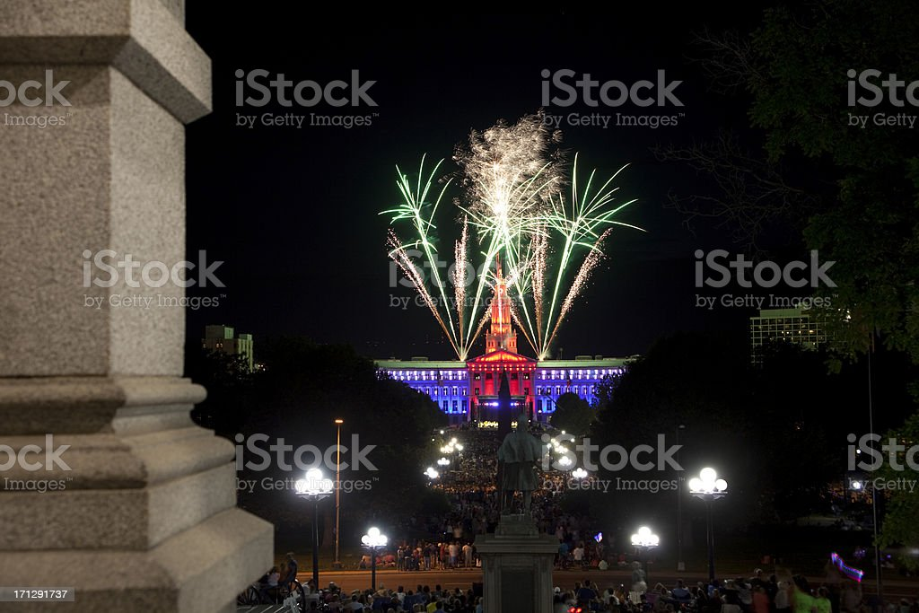Independence celebration over Civic Center Park Denver Colorado stock photo