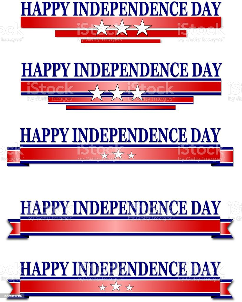 USA Independence Day Banner on white background stock photo