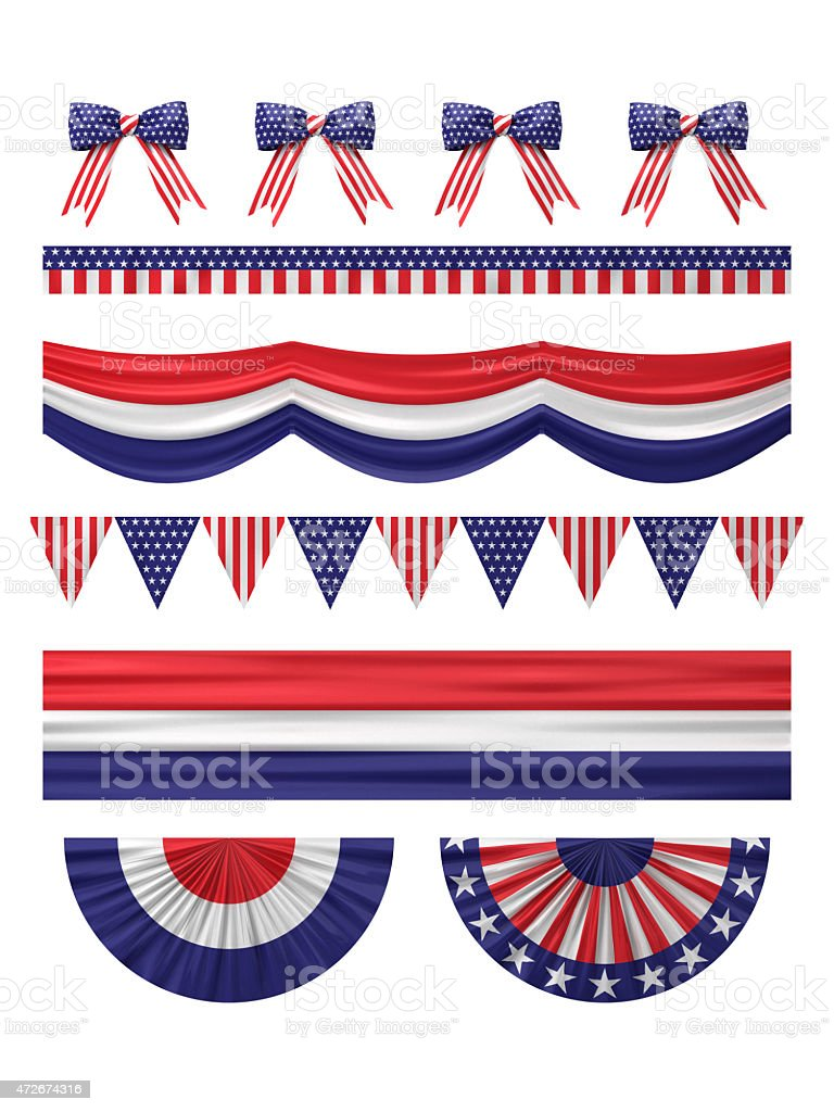 USA  independence day decoration borders set. stock photo
