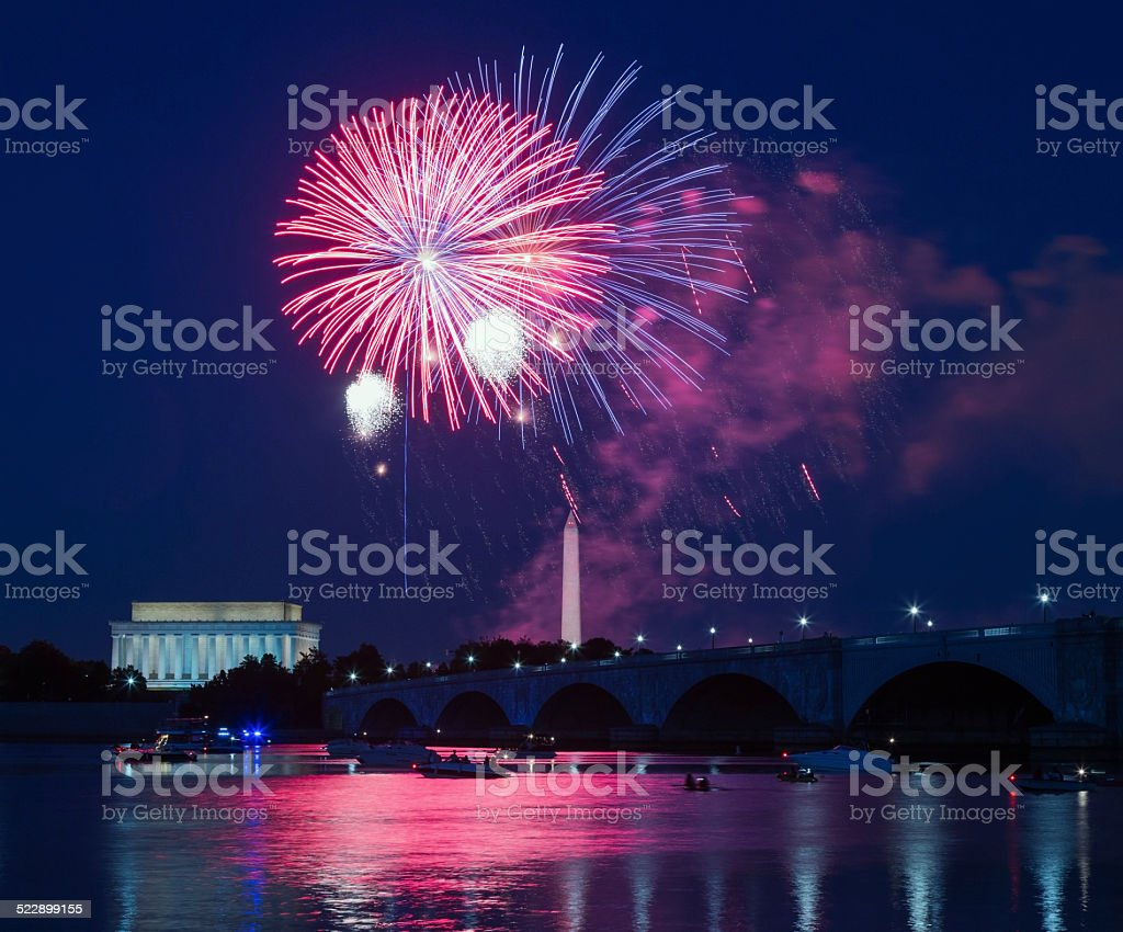 Independence Day fireworks over Washington Monument and Lincoln Memorial stock photo