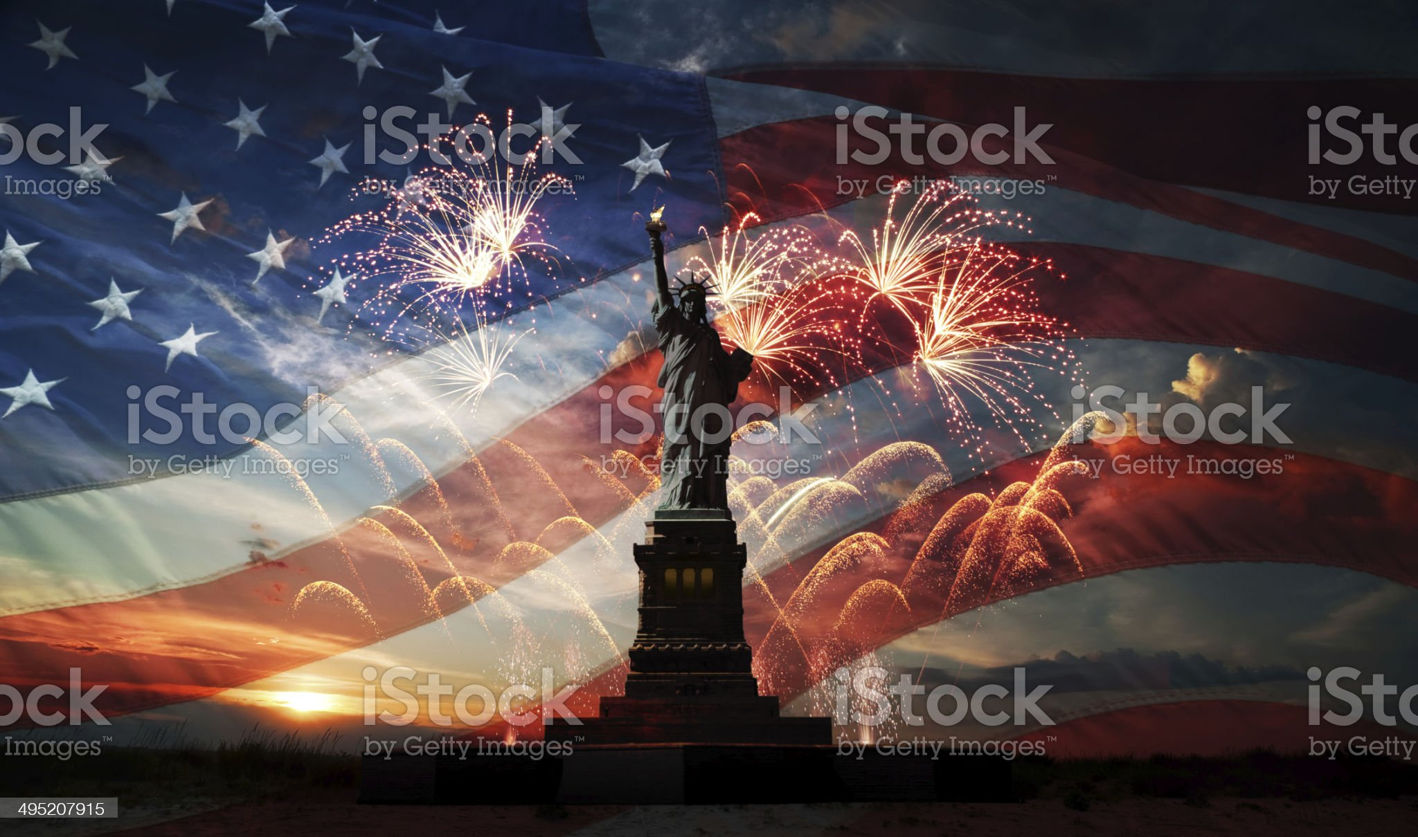 Independence day. Liberty enlightening the world royalty-free stock photo