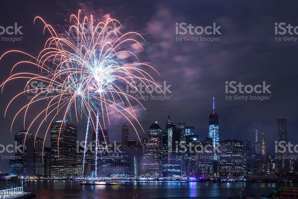 Independence Day With Fireworks in New York City stock photo