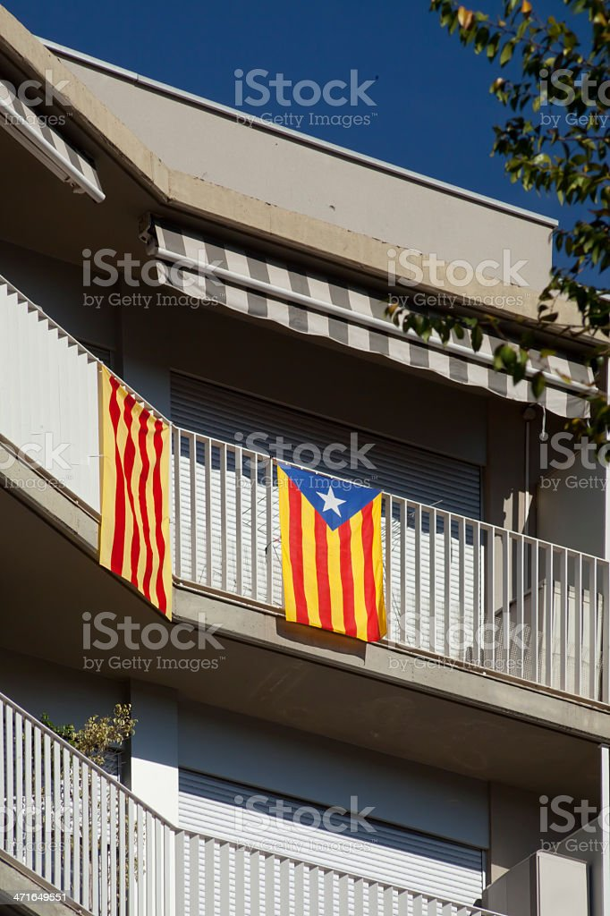 Independence flags in Barcelona stock photo