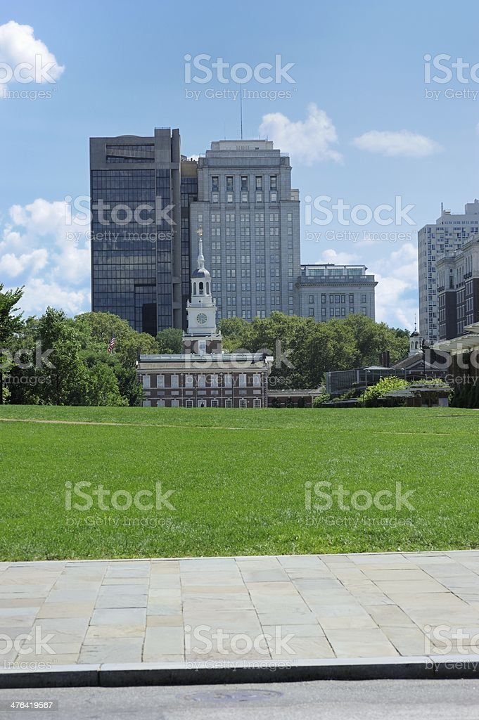 Independence Hall in front of office buildings royalty-free stock photo