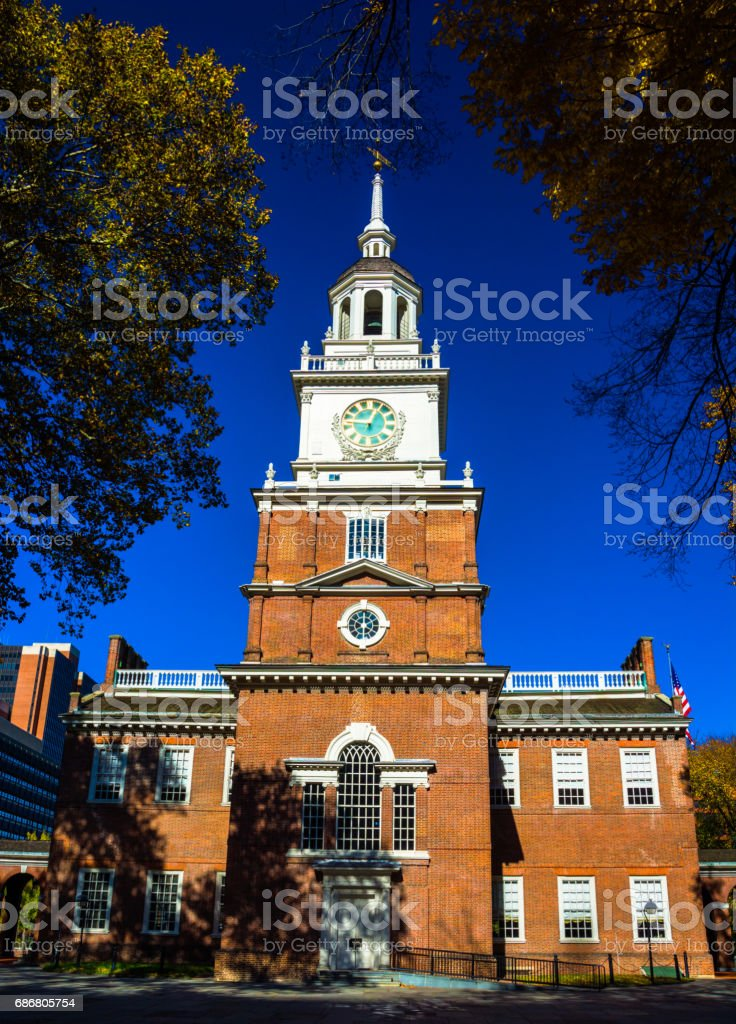 Independence Hall with Deep Blue Sky during Autumn, Portrait View stock photo