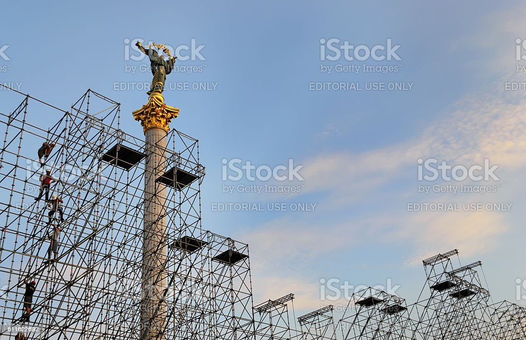 Independence Monument of Ukraine behind the scaffolding stock photo