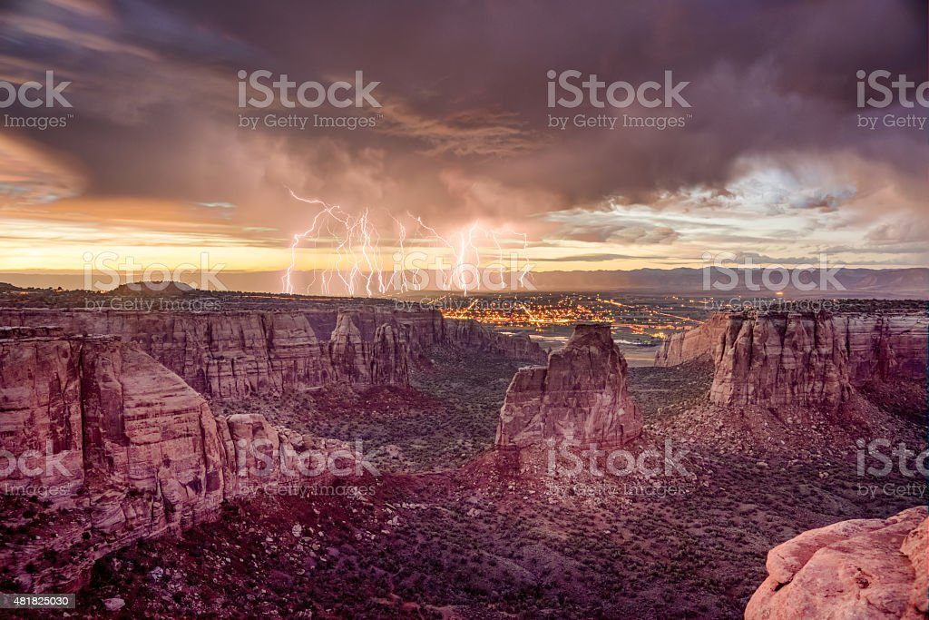 Independence Rock at Colorado National Monument during Sunset wi stock photo
