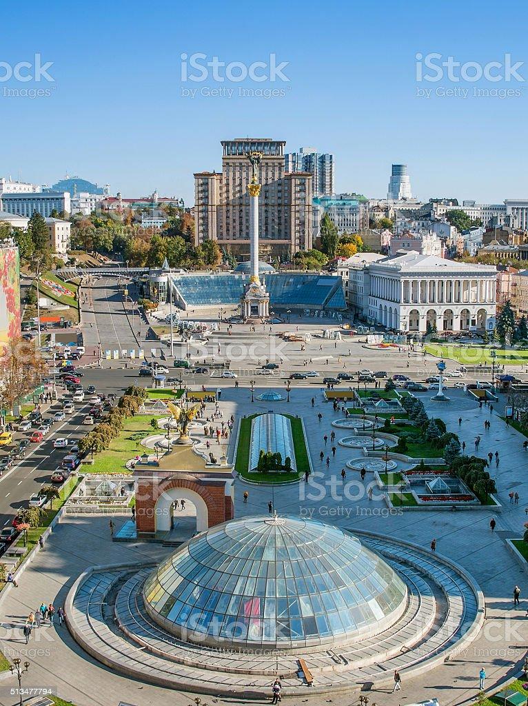 Independence Square overview, Kiev, Ukraine stock photo