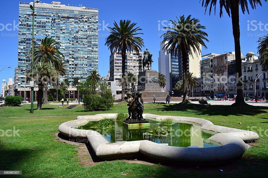Independencia square, Montevideo stock photo
