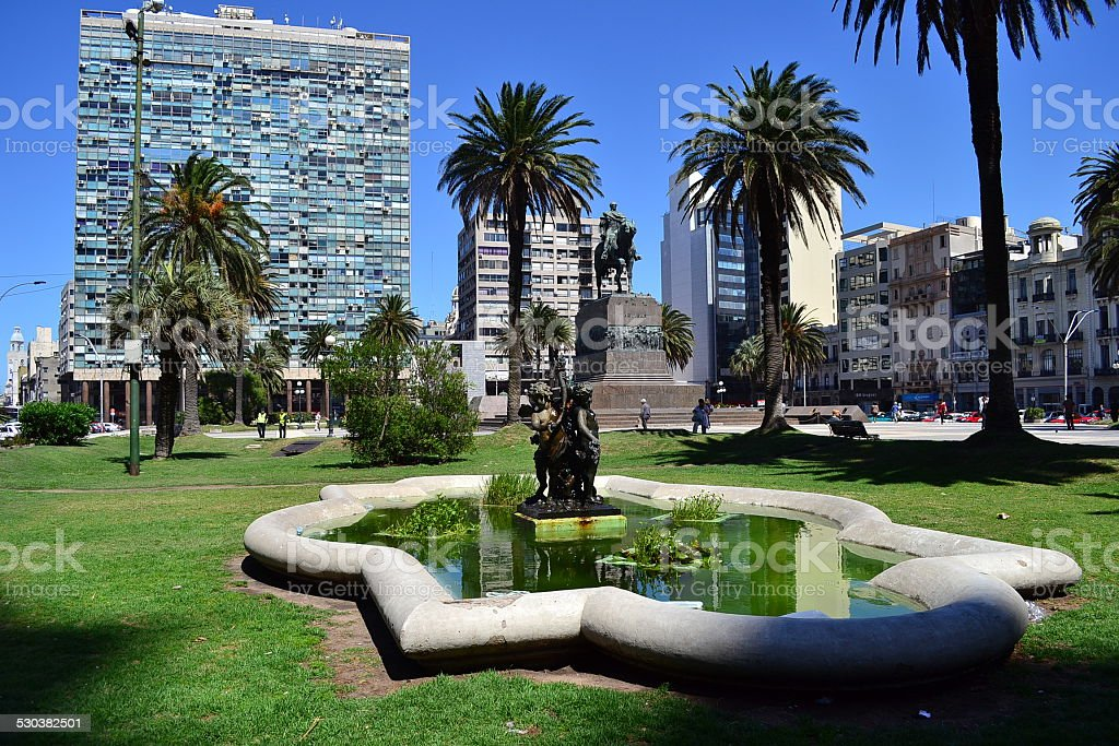 Independencia square, Montevideo stock photo