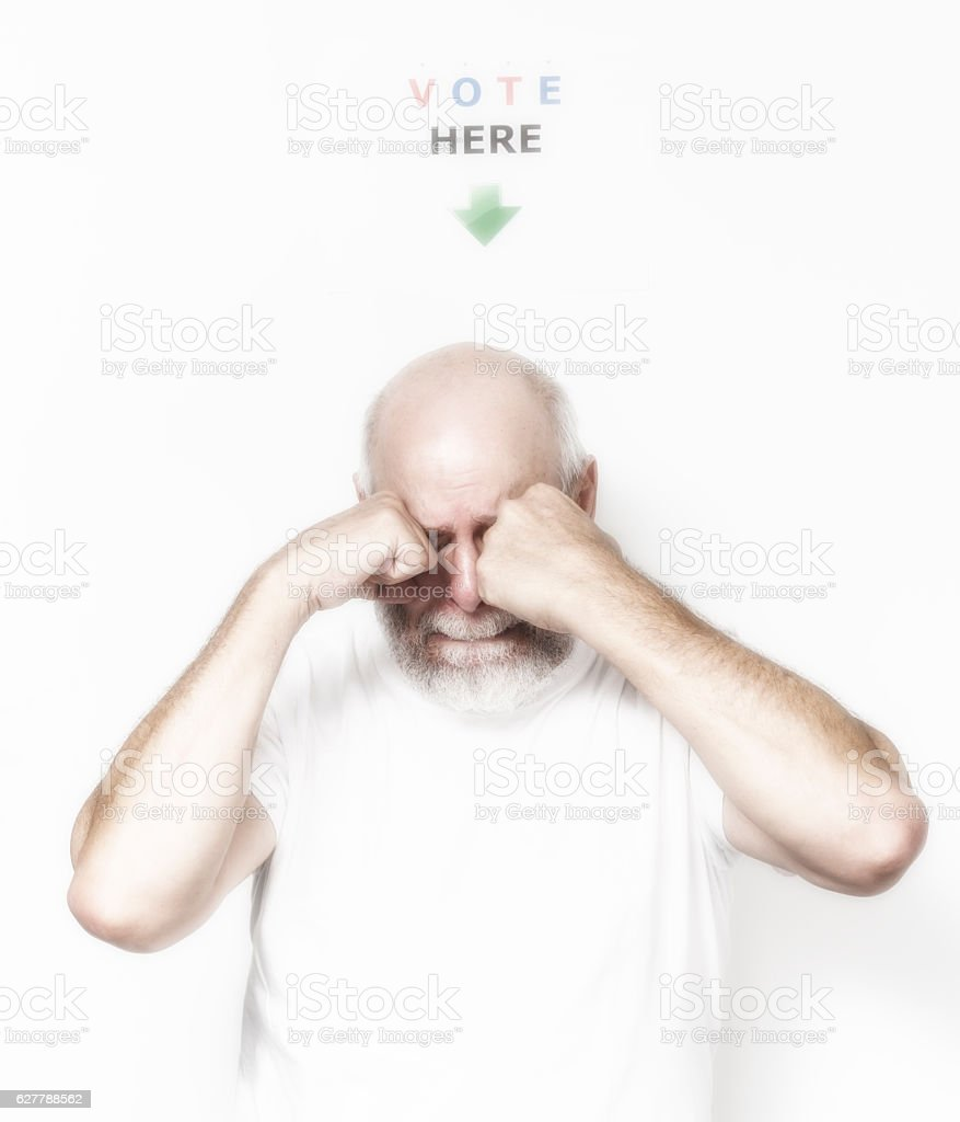 Independent USA Senior Man Voter Crying Rubbing Eyes stock photo