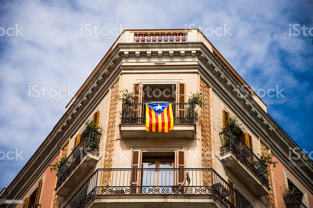 Independentist Catalonian flag in Barcelona stock photo