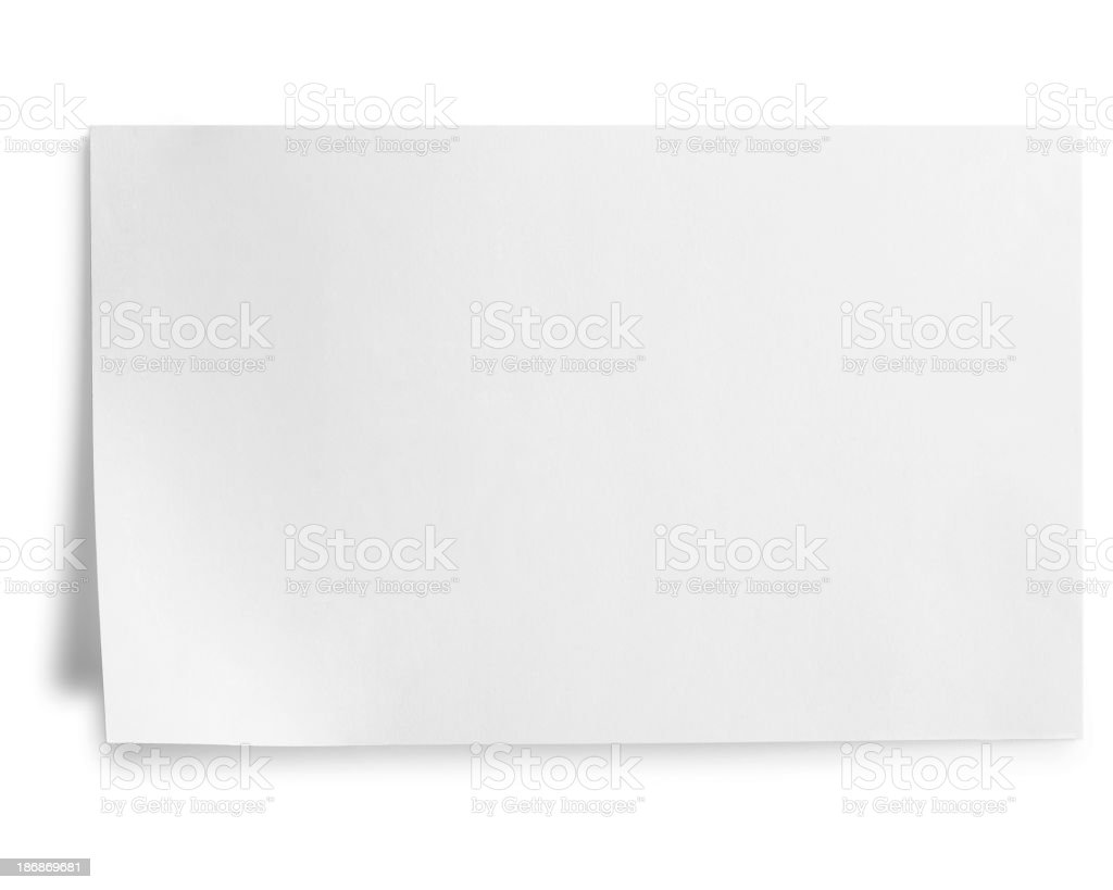 index card isolated on white stock photo