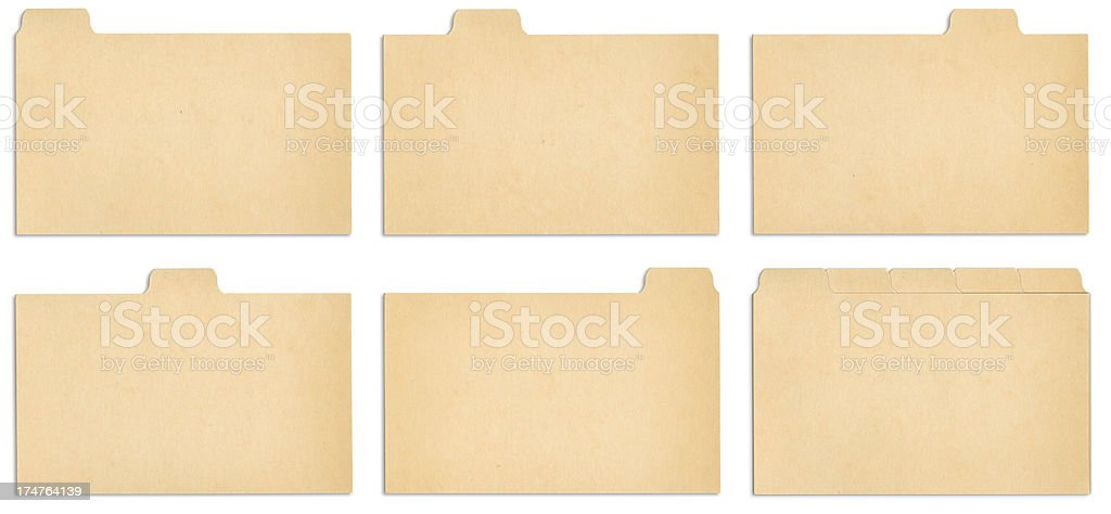 Index Card Tabs with outline paths. stock photo