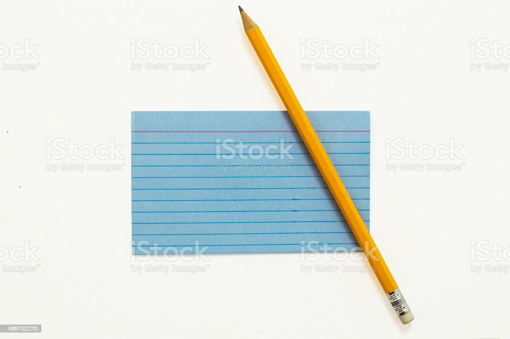 Index Card with Pencil stock photo