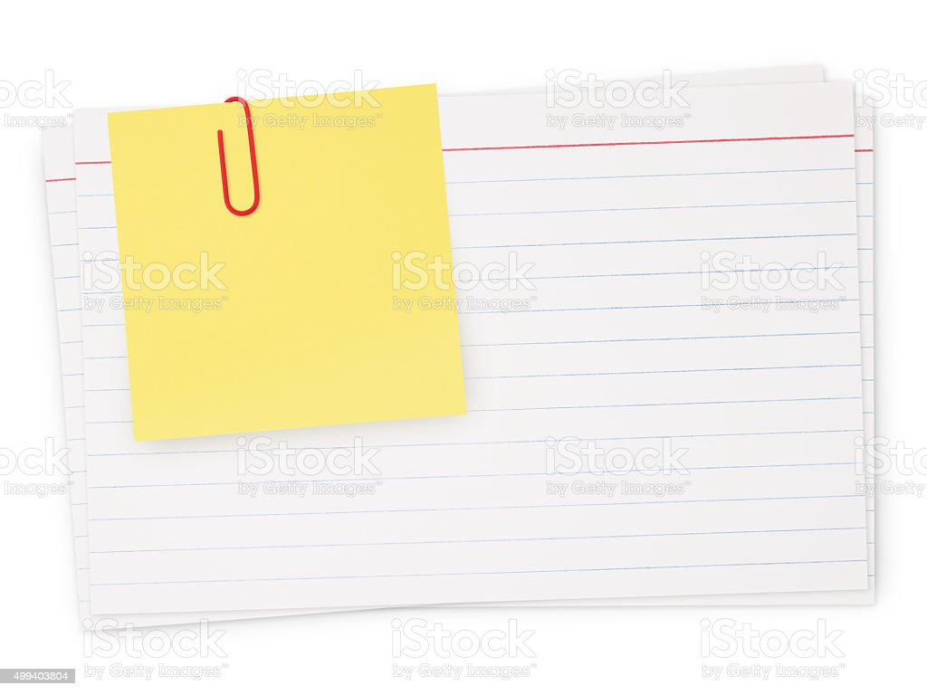 Index cards and note (with path) stock photo