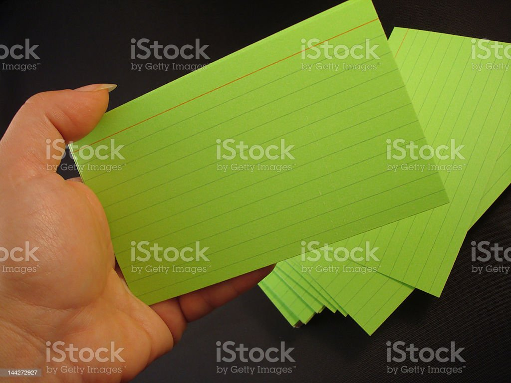 Index Cards in hand 3 royalty-free stock photo