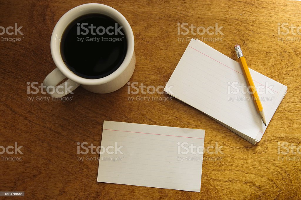 Index Cards, Pencil and Coffee royalty-free stock photo