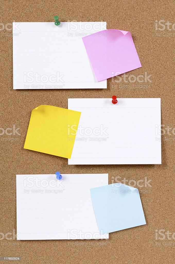 Index cards with sticky notes royalty-free stock photo