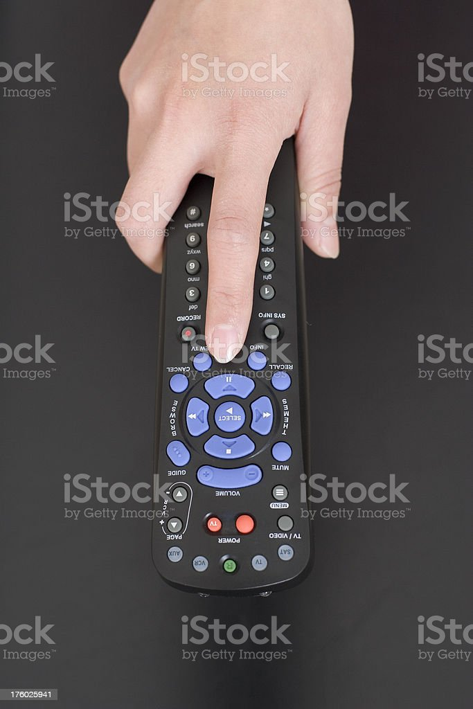 Index Finger on Remote Control royalty-free stock photo