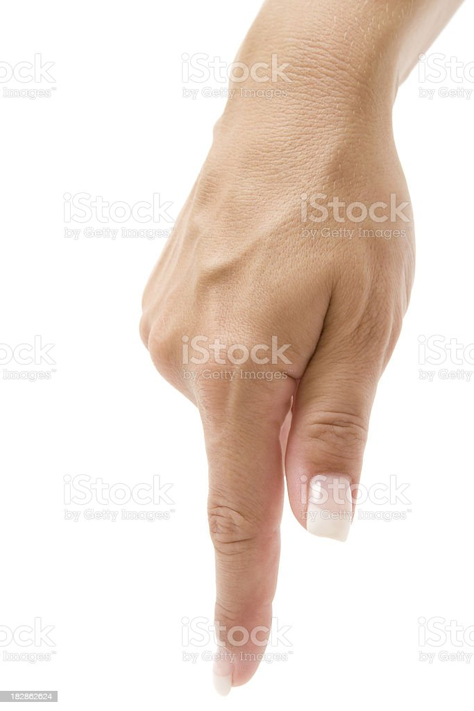 Index Finger Pointing Downwards stock photo