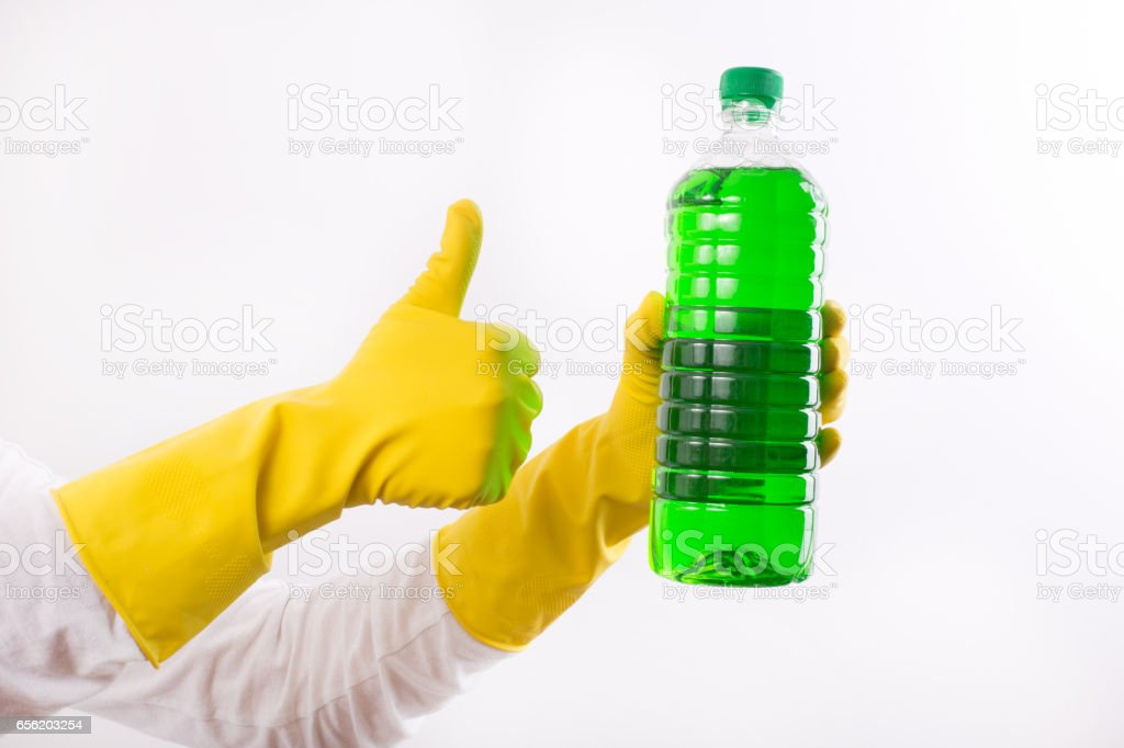 Index finger pointing on cleaning product stock photo