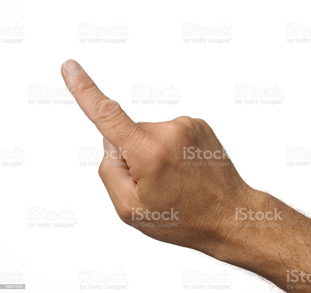 Index of a male hand on white background stock photo