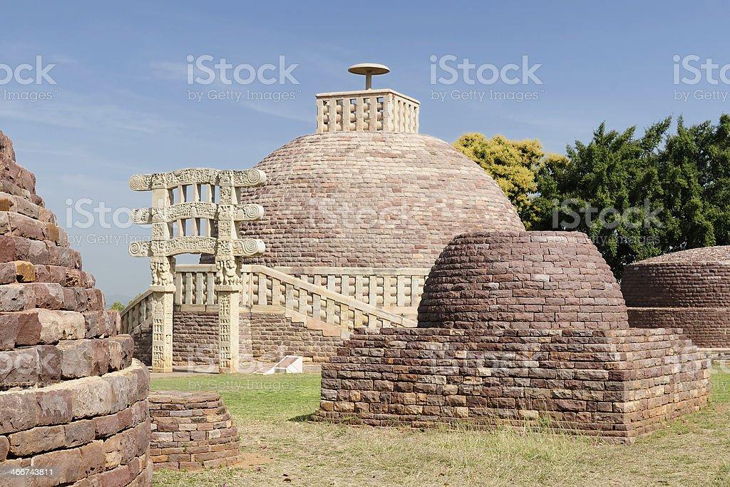 India, Ancient Buddhist stupas in Sanchi stock photo