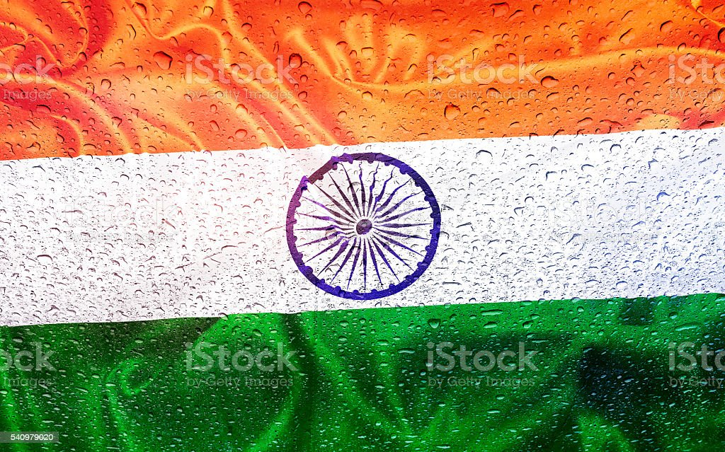India and indian flag with drops stock photo