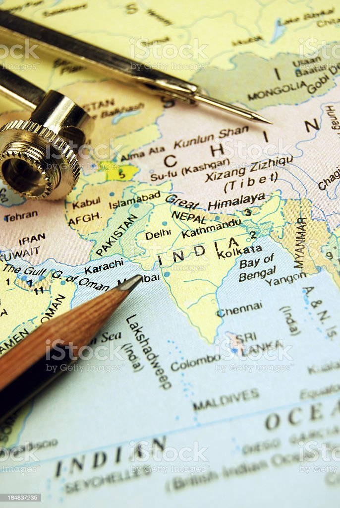 India and its neighbouring countries stock photo