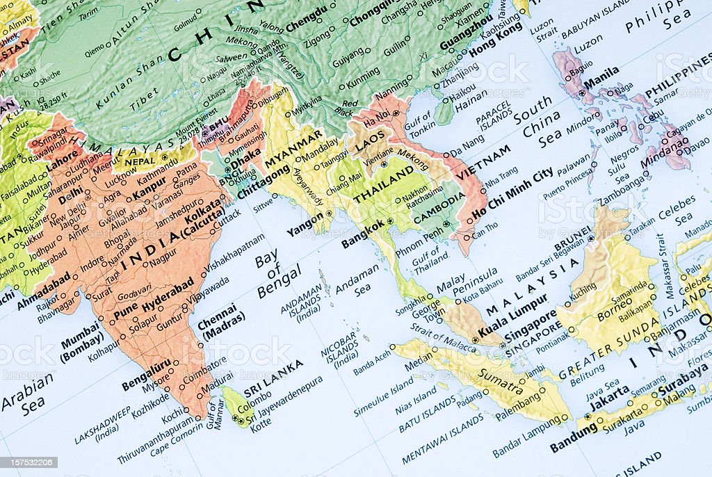India and Malaysia regional map stock photo
