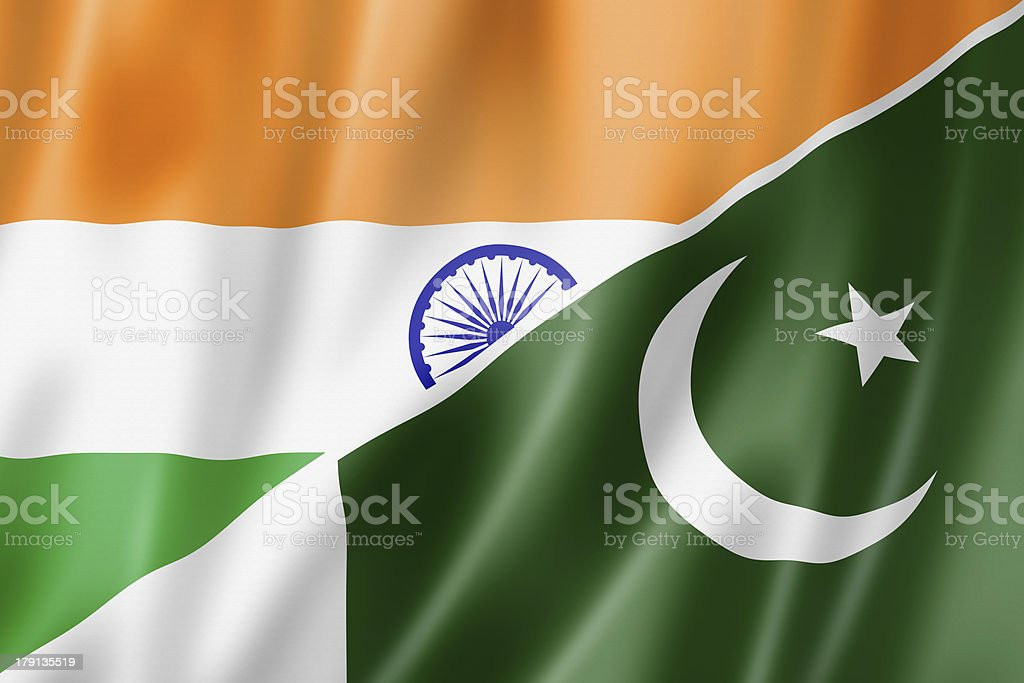 India and Pakistan flag stock photo
