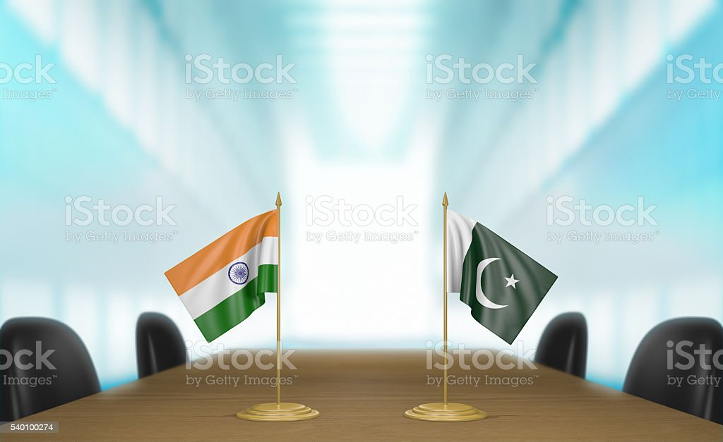 India and Pakistan relations and trade deal talks, 3D rendering stock photo