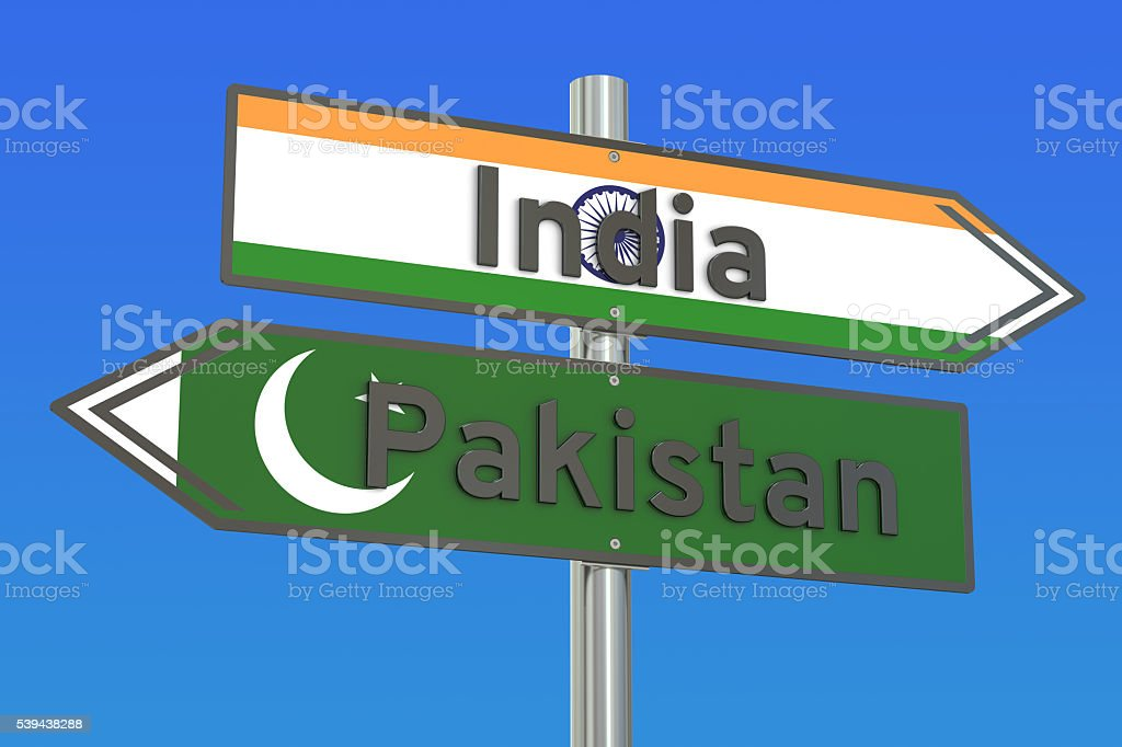 India and Pakistan relations concept, 3D rendering stock photo