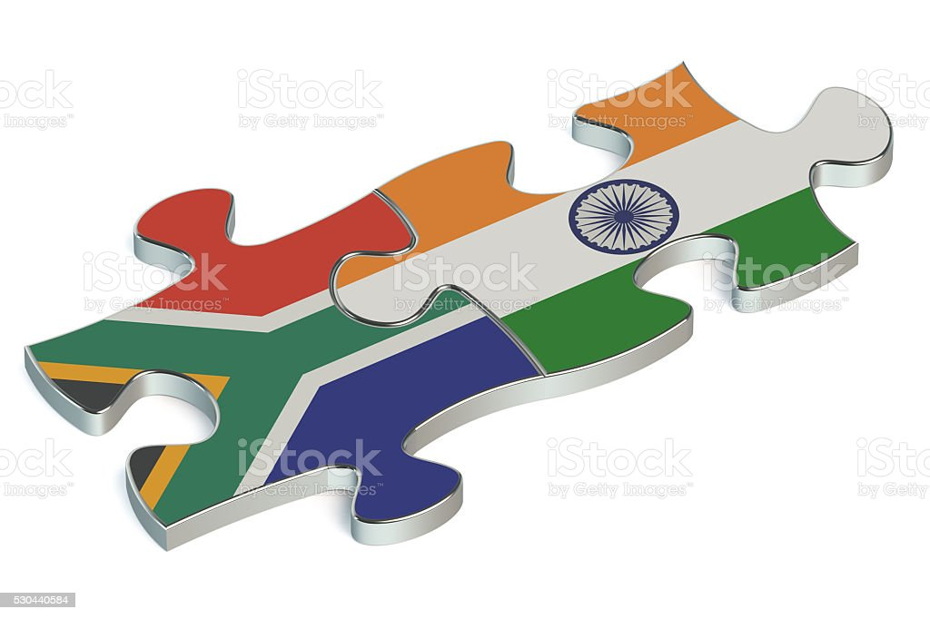 India and South Africa puzzles from flags stock photo