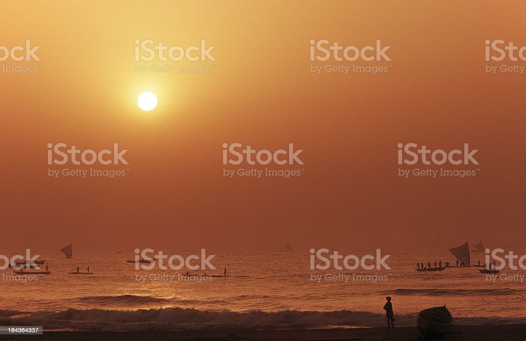 India, Andra Pradesh, fishermen, Bay of Bengal. stock photo