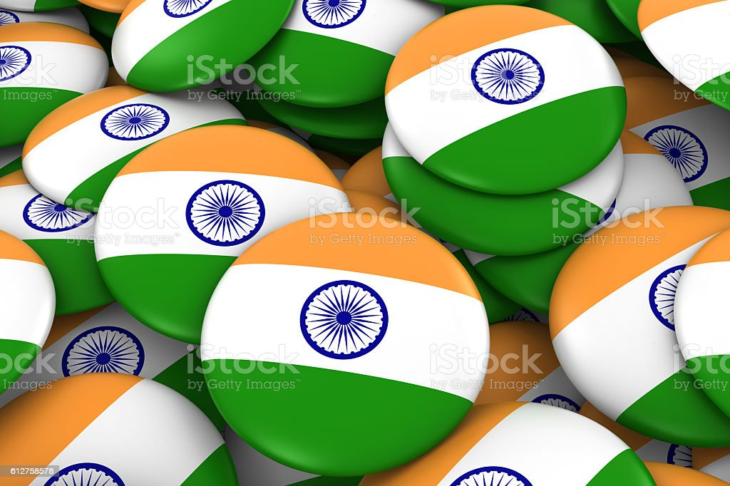 India Badges Background - Pile of Indian Flag Buttons stock photo