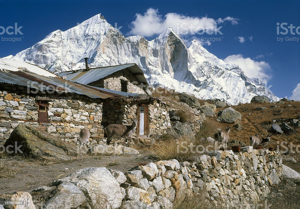 India. Bhagirathi Peaks in Garhwalu Himal. stock photo