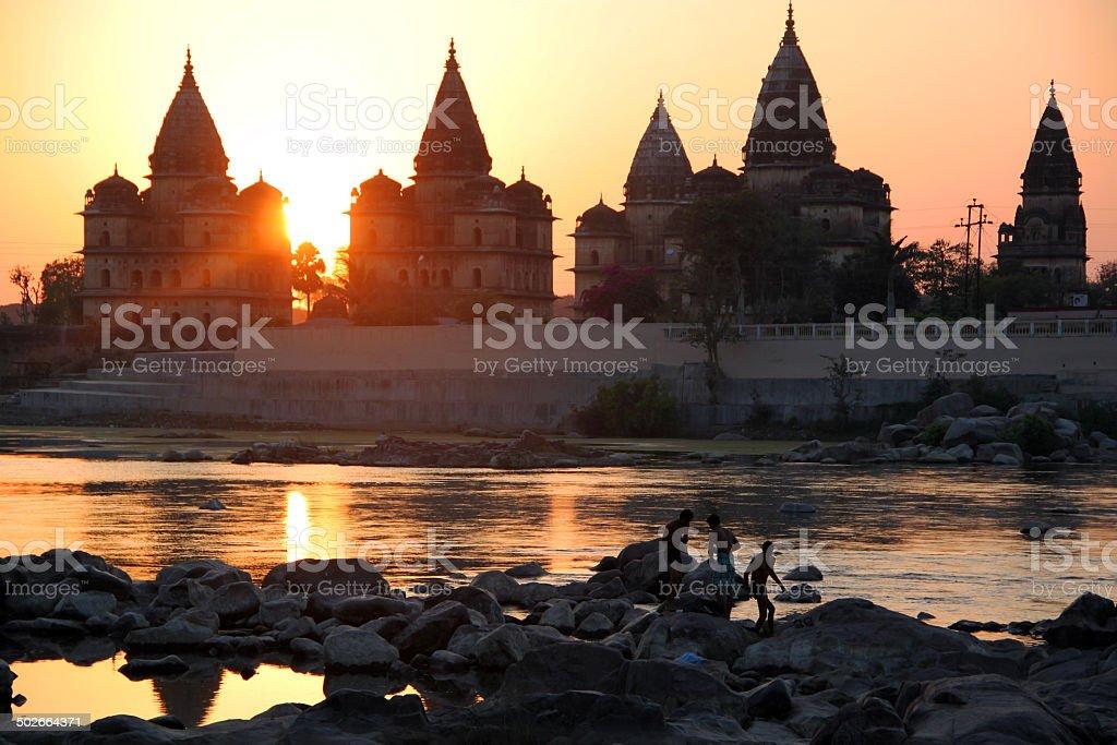 India: Cenotaphs of Orchha at Sunset stock photo